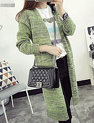 Women's Casual/Daily Long Cardigan,Solid U Neck Long Sleeves Wool Fall Winter Medium Micro-elastic