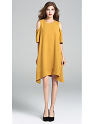 cheap -SHE IN SUN Women's Daily Going out Work Casual A Line Loose Dress,Solid Round Neck Knee-length Half Sleeves Polyester All Seasons Mid Rise Inelastic