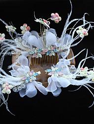 economico -stile elegante del copricapo della clip dei capelli dei fiori netti della piuma di seta del tulle