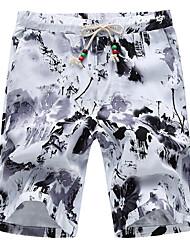 cheap -Men's Mid Rise Micro-elastic Loose Shorts Pants,Casual Floral Cotton Spandex Summer