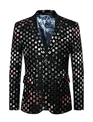 Men's Club Plus Size Party/Cocktail Street chic Punk & Gothic Spring Fall Blazer,Color Block V Neck Long Sleeve Regular Cotton Polyester