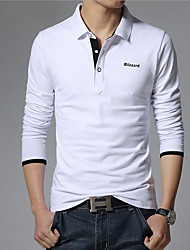cheap -Men's Daily Casual Summer Polo,Solid Shirt Collar Long Sleeves Cotton
