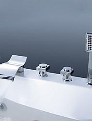 abordables -Moderne Diffusion large Jet pluie Douchette inclue Soupape en laiton Trois poignées cinq trous Chrome, Robinet de baignoire