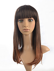 cheap -Synthetic Long Straight Wig Brown Mix Bob Neat Bangs Hairstyle For Women Full Wig