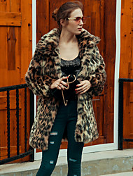 Women's Going out Casual/Daily Work Simple Active Fall Winter Fur Coat Leopard Shirt Collar Long Sleeve Long Faux Fur Brown Keep Warm