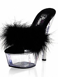Women's Sandals Formal Shoes Summer Feather/ Fur PVC Dress Party & Evening Crystal Feather Stiletto Heel White Black Ruby 5in & over