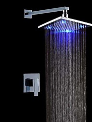 cheap -Contemporary LED Wall Mounted Rain Shower Ceramic Valve Chrome, Shower Faucet