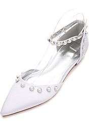 cheap -Women's Shoes Satin Spring / Summer Comfort / Mary Jane / D'Orsay & Two-Piece Wedding Shoes Flat Heel Pointed Toe Pearl / Imitation Pearl