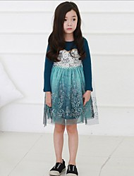cheap -Girl's Print Dress,Cotton Polyester Spring Summer Long Sleeve Floral Blue