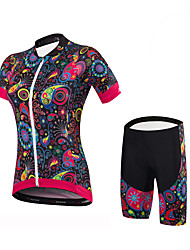 cheap -Malciklo Women's Short Sleeves Cycling Jersey with Shorts - Black Floral / Botanical British Bike Clothing Suits Spandex Coolmax Lycra