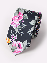 cheap -Men's Neckwear Cotton Necktie - Floral Print