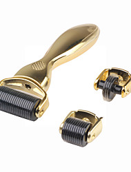 cheap -3 Roller Heads 180/600/1200 Micro Needles Titanium Derma Roller With Gold Handle