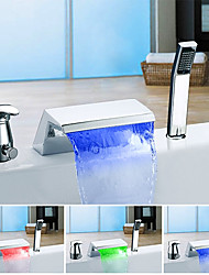 cheap -Bathtub Faucet - Color Changing Modern Chrome Tub And Shower Ceramic Valve