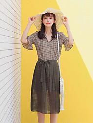 Feminino Camisa Saia Conjuntos Casual Simples Verão,Xadrez Colarinho de Camisa Meia Manga