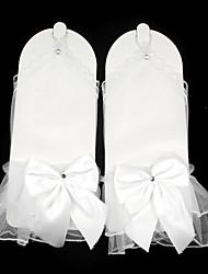baratos -Arrastão Até o Pulso Luva transparente Grade Luvas de Noiva With Laço