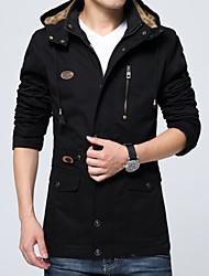 Men's Casual/Daily Vintage Fall Winter Jacket,Solid Hooded Long Sleeve Long Cotton
