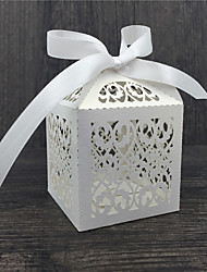 cheap -Round Square Cubic Pearl Paper Favor Holder with Ribbons Printing Favor Boxes - 50