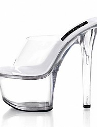 cheap -Women's Sandals Slippers Summer PVC Dress Party & Evening Crystal Stiletto Heel Clear 5in & over