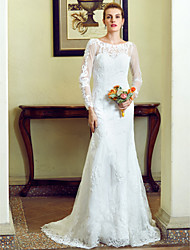 cheap -Mermaid / Trumpet Illusion Neckline Sweep / Brush Train Lace Wedding Dress with Appliques Buttons by LAN TING BRIDE®