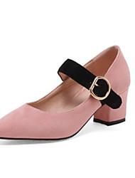 Women's Heels Comfort Novelty Fall Fleece Wedding Dress Party & Evening Chunky Heel Black Green Blushing Pink Almond 2in-2 3/4in