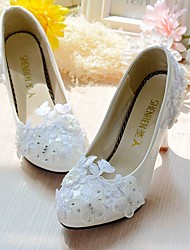 cheap -Women's Wedding Shoes Slingback Spring Fall Lace Leatherette Wedding Dress Party & Evening Office & Career Rhinestone Applique Imitation