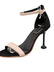 preiswerte -Damen Schuhe Kaschmir Sommer Komfort Sandalen Stöckelabsatz Offene Spitze für Kleid Schwarz Grün Rosa