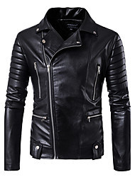 cheap -Men's Club Street chic Leather Jacket - Solid Colored