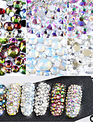 cheap -800Pcs 1 Pack Crystal Opal White Glass Nail Art Rhinestones Mixed Sizes Colorful Non Hotfix Flatback Strass 3D Manicure Decorations