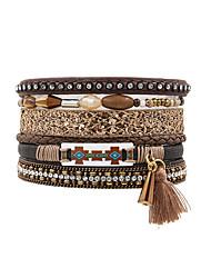cheap -Fashion Ethnic Women Multi Rows Beads Set Rhinestone Magnet Charm  Leather Bracelet
