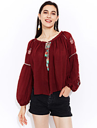 Women's Embroidery|Boho Casual/Daily Going out Simple Cute Fall Winter Blouse,Embroidered Round Neck Long Sleeve Cotton Medium
