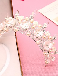 cheap -Gemstone & Crystal Tulle Imitation Pearl Plastic Alloy Tiaras Headbands Headpiece with Crystal Feather 1 Wedding Special Occasion