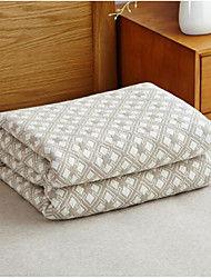 Knitted Geometric Cotton Blend Blankets