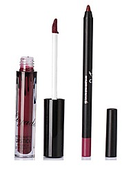 Lip Gloss Lip Line Pen Set Matte Non-Stick Cup Liquid Lip Pen Long-Lasting Waterproof Mouth Red Mute Lips Makeup