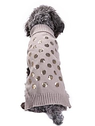 cheap -Cat Dog Coat Sweater Dog Clothes Party Casual/Daily Cosplay Keep Warm Wedding Halloween Christmas New Year's Sequins Gray