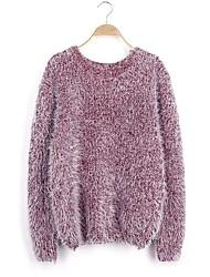 Standard Pullover Da donna-Per uscire Casual Semplice Tinta unita Rotonda Manica lunga Lana d'angora Autunno Medio spessore Media