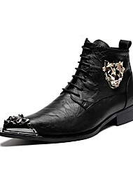 cheap -Men's Boots Amir's New Arrival Fashion Leopard Logo Cowhide Leather Casual Party & Evening