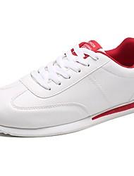 baratos -Homens sapatos Couro Ecológico Primavera Outono Conforto Tênis Caminhada Cadarço para Casual Branco Branco/Preto Vermelho/Branco Branco e