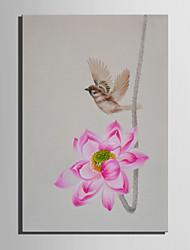 Pintados à mão Floral/Botânico Vertical,Abstracto 1 Painel Tela Pintura a Óleo For Decoração para casa