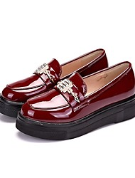 cheap -Women's Shoes Patent Leather Spring / Fall Comfort Loafers & Slip-Ons Platform Round Toe Metallic Toe Black / Burgundy