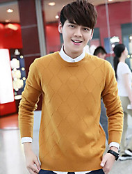 cheap -Men's Long Sleeves Wool Pullover - Solid Colored Round Neck