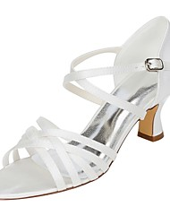 preiswerte -Damen Schuhe Stretch - Satin Sommer Pumps Hochzeit Schuhe Blockabsatz Offene Spitze Schnalle für Hochzeit Kleid Elfenbein