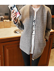 Women's Daily Hoodie Jacket Solid Round Neck Micro-elastic Cotton Long Sleeve Spring