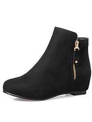 Women's Boots Bootie Fall Winter Leatherette Casual Dress Zipper Flat Heel Wine Ruby Dark Blue Black Flat