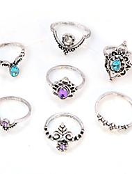 abordables -Femme Cristal / Strass Cristal / Imitation Diamant / Alliage Fleur - Rond Rétro / Elégant / Mode Argent Bague Pour Quotidien /