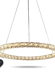 LED Ring Crystal Pendant Light Modern Crystal Chandeliers Ceiling Lights Indoor Lamp Fixtures Dimmable with Remote Control