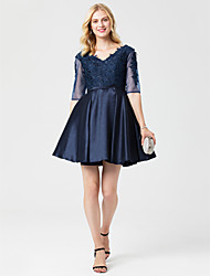 cheap -Princess V Neck Short / Mini Satin Cocktail Party / Homecoming / Holiday Dress with Appliques / Sash / Ribbon by TS Couture® / Lace Up