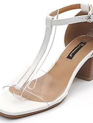 Damen Sandalen Komfort Pumps Transparente Schuh PU Frühling Sommer Kleid Party & Festivität Schnalle Blockabsatz Weiß Schwarz 5 - 7 cm