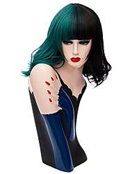 Donna Parrucche sintetiche Senza tappo Medio Ondulati Nero / Verde scuro Parrucca naturale Parrucca di Halloween Parrucca per festa