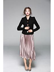Dámské Jednobarevné Běžné/Denní Sofistikované Tričko Sukně Obleky-Podzim Do V Dlouhý rukáv