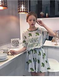 Damen Solide Muster Einfach Lässig/Alltäglich T-Shirt-Ärmel Rock Anzüge,Rundhalsausschnitt Sommer Kurzarm